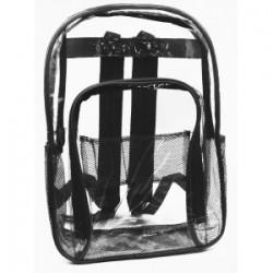 "17"" Black Clear PVC Backpack $4.50 Each."