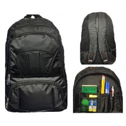 """18"""" Wholesale Backpack All Black with Organizer $6.50 Each"""