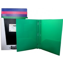 2 Pocket Poly Folder w/ Prongs $0.68 Each.