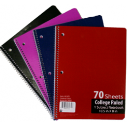 Wholesale College Ruled Spiral Notebook $0.65 Each.