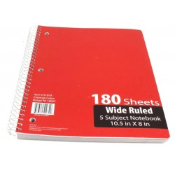 Wholesale 5 Subject Spiral Notebook $1.70 Each.