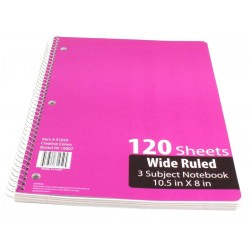 3 Subj. WR Spiral Notebook $1.29 Each
