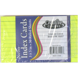 "3"" x 5"" Lined Neon Index Cards $0.72 Each."