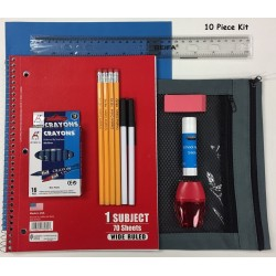 Wholesale School Supply Kit 10 Piece Price of $3.65 Each.