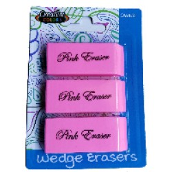 3 Pack Pink Wedge Erasers $0.57 Each.