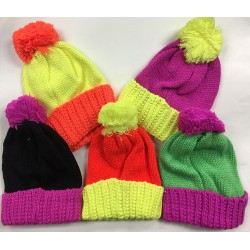 Ladies/Girls 2-Tone Knitted Hat w/ Pom Pom $1.59 Each.